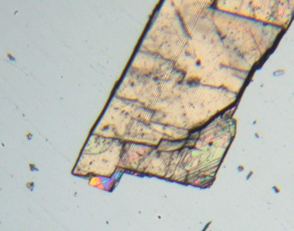 [ small calcite crystal showing typical intererence colours ]