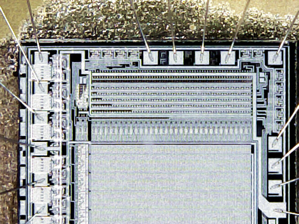 [ USB microscope (Ebay), demo image: computer chip, higher magnification ]